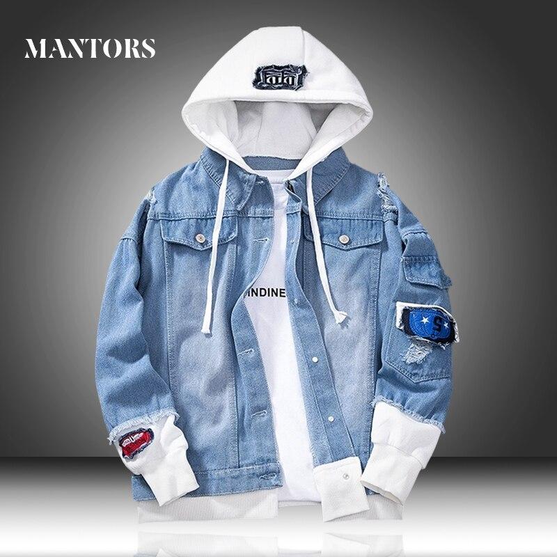 Men Denim Jacket 2020 New Spring Casual Men's Hooded Jean Jackets Bomber Hip Hop Streetwear Male Loose Outerwear Coats Slim Fit