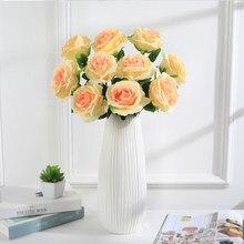 5 sztuk sztuczne róże jedwabne kwiaty ślubne czerwone białe róże do dekoracji wnętrz walentynki prezent nowy rok home decor diy