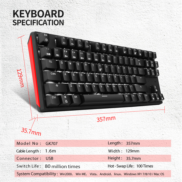 HEXGEARS GK12 Hot Swap Switch Mechanical Gaming Keyboard 87 Key Waterproof Kailh BOX Switch white blue backlight Keyboard