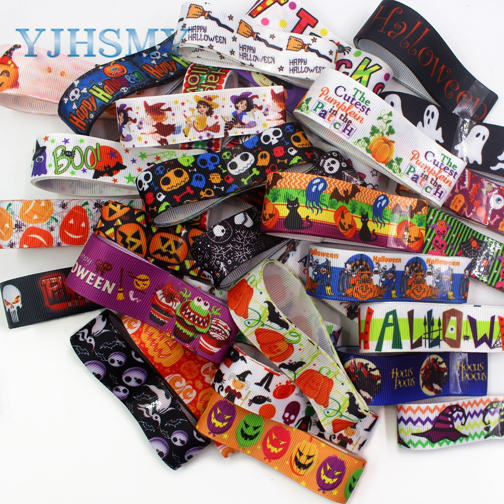 YJHSMY I-191004-11,10yards(22-25mm),Various <font><b>Halloween</b></font> series Cartoon <font><b>grosgrain</b></font> <font><b>ribbon</b></font>,10 style mix each one yards image