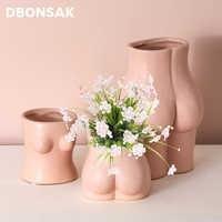 Minijarrón de arte corporal para decoración del hogar, jarrón de cerámica con tetas, trasero, pequeño, escultura, adornos, artesanías, Hobby abstracto creativo, maceta de flores