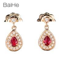 BAIHE Solid 14K Rose Gold Total 0.24ct Wedding Pear Natural Rubis Women Trendy Fine Jewelry Gift Ruby Stud Earrings