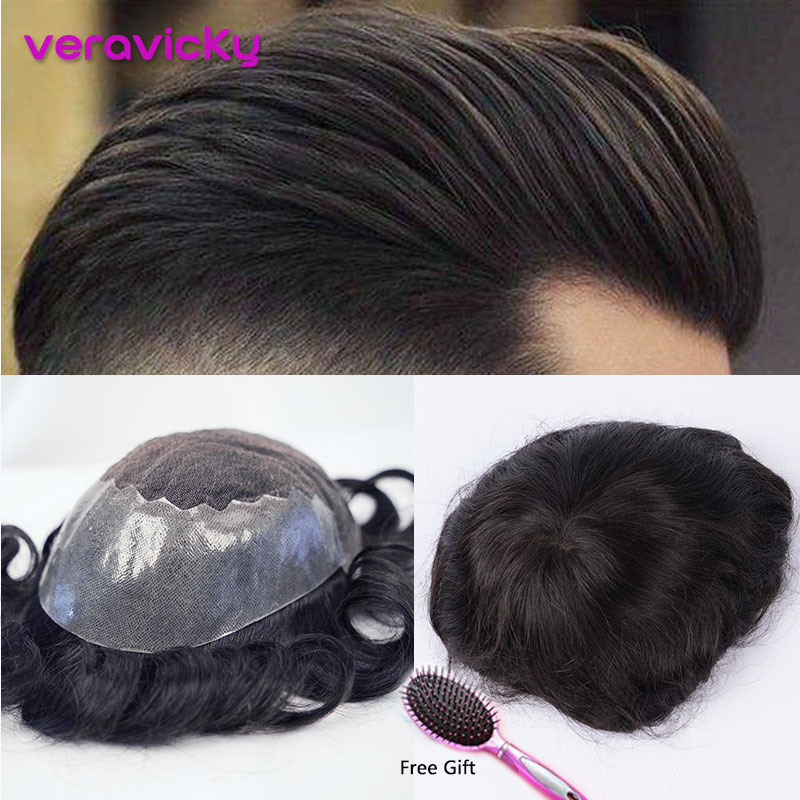 Human Hair Toupee For Men French Lace With Thin PU Wig Hairpieces Replacement System Indian Natural Remy Hair 6inch Mens Toupee