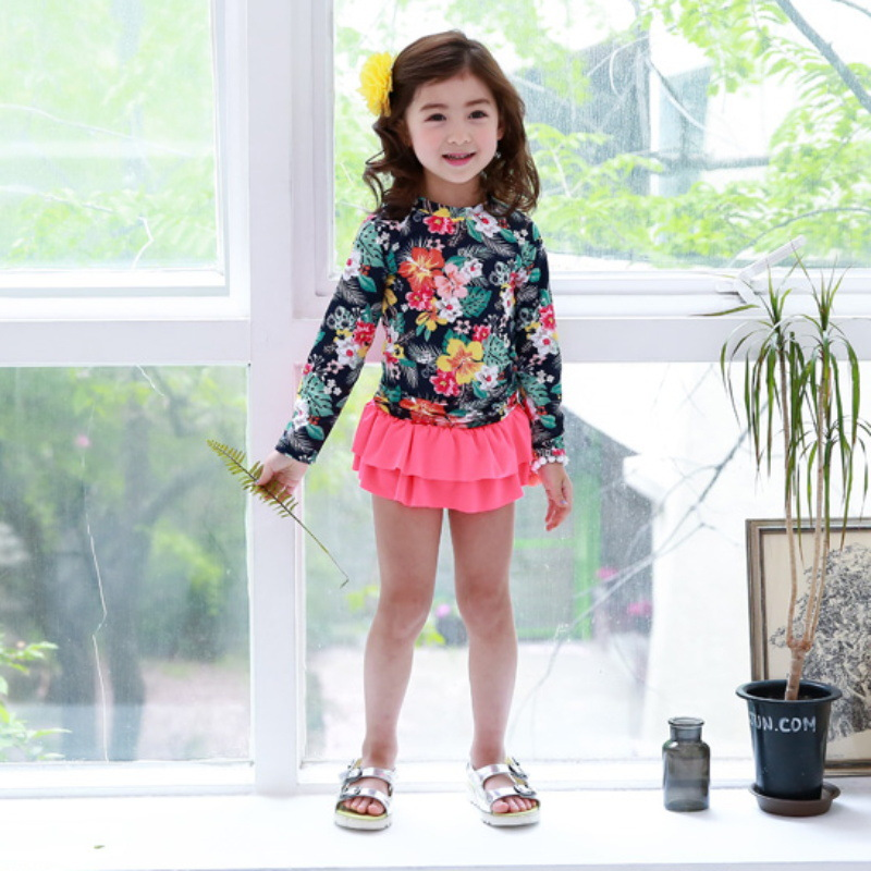 KID'S Swimwear GIRL'S Baby Cute South Korea Princess Sun-resistant Quick-Dry Girls Split Type Long Sleeve Hot Springs Swimwear L