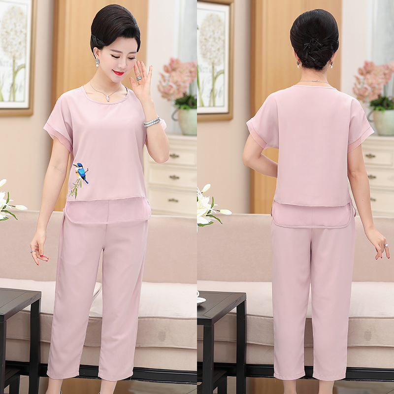 Mom Summer Wear Short Sleeve T-shirt Tops 40-50-Year-Old 30 Middle-aged WOMEN'S Two-piece Suit-Middle Aged And Elderly People Cl