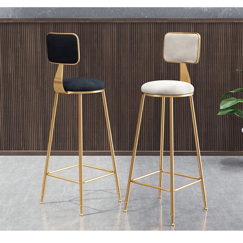 Barstool Bar Chair Bar Stool Backrest High Stool Simple And Stylish Iron Multicolor Lightweight Household