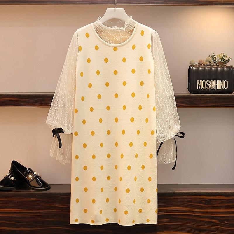 XL-5XL grande taille femmes deux pièces robe automne 2019 Vintage manches longues Blouses en dentelle et à pois tricoté pull gilet robes
