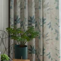 الأمريكية القطن الكتان الستائر لغرفة النوم نمط الطباعة نافذة الستائر لغرفة المعيشة الطعام غرفة الشمال الأخضر الستار