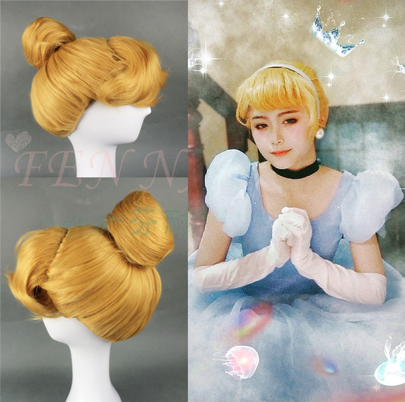 Halloween Women Cinderella Princess Cosplay Wig Blonde Wig Role Play Classic Cinderella Updo Styled Role Play Hair Costumes