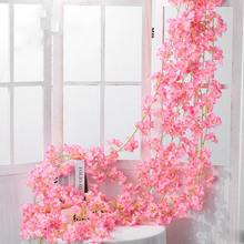 135 kwiat głowy 1 sztuk jedwab sztuczny kwiat wiśni różowa winorośli ściany wiszący kwiat dekoracji rattan sztuczna roślina liść wieniec roman tanie tanio CN (pochodzenie) Sztuczne kwiaty Cherry Łańcuch z kwiatów Ślub Z tworzywa sztucznego