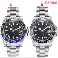 40mm parnis sapphire gmt automatic machinery movimento luminoso relógios masculinos preto & azul moldura cerâmica|Relógios mecânicos| |  -