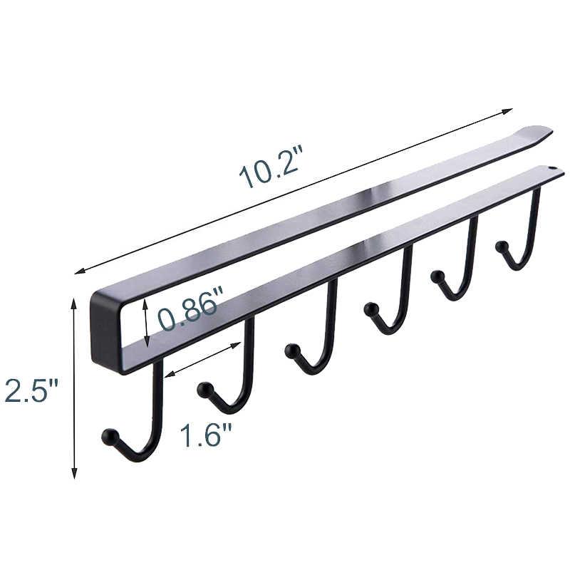多機能 3 個 × 6 フックマグホルダー下キャビネットコーヒーカップハンガーキッチン、戸棚と任意の厚さの 0.8 インチまたは