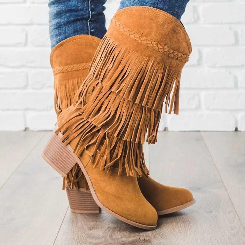 Adisputent Bohemian boho ส้นรองเท้าสตรี tassel fringe Faux suede หนังข้อเท้ารองเท้าผู้หญิงแบนรองเท้า booties
