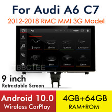 Autoradio CarPlay, Android 10, 4 go/64 go, Navigation GPS, MMI, 3G, RMC, écran tactile, sans fil, lecteur multimédia pour voiture Audi A6, C7 (2012 – 2018)