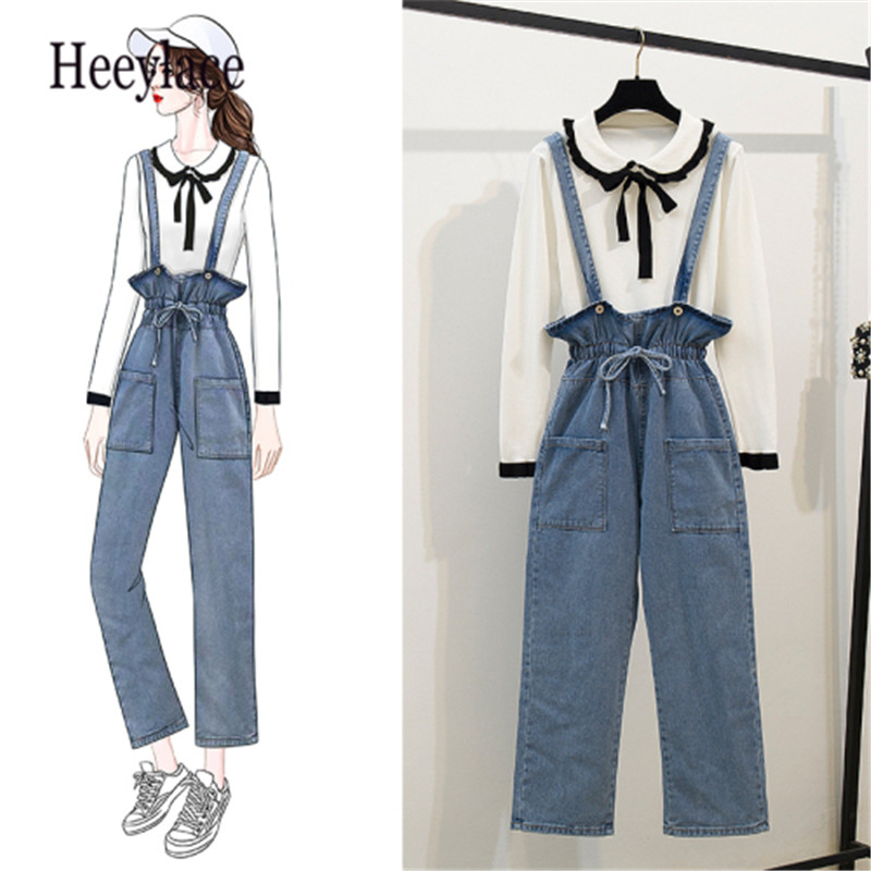 2 Piece Set Korea Fashion 2019 Women Sweater Clothes Set Bow Peter Pan Collar Pullovers+High Waist Pocket Suspender Jeans Pants