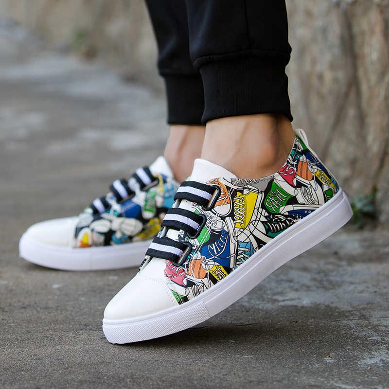 แฟชั่นผู้ชายรองเท้าสบายๆ Breathable Harajuku สดรองเท้าคุณภาพสูง Graffiti พิมพ์ Vulcanized รองเท้า Zapatos De Hombre