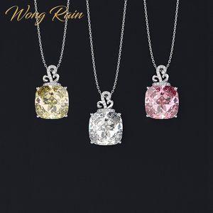 Wong Rain Романтический 100% стерлингового серебра 925 искусственный Муассанит цитрин сапфировый драгоценный камень кулон ожерелье оптовая прода...