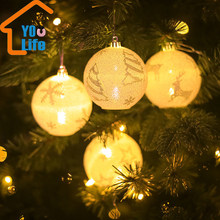 4Pcs/Set Creative Glowing Christmas Ball Christmas Tree Decor Ball Pendant Lighted Christmas Ball Drop Ornament Take A Photo(China)