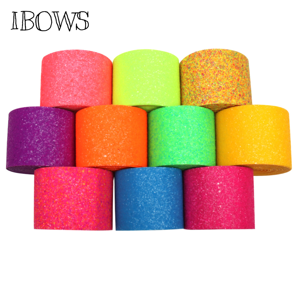 IBOWS 3 39 39 75mm Neon Ribbon Fluorescent Color Chunky Glitter Sequin Ribbon for DIY Hair Accessories Bow Belt Bag Material 2yards in Ribbons from Home amp Garden
