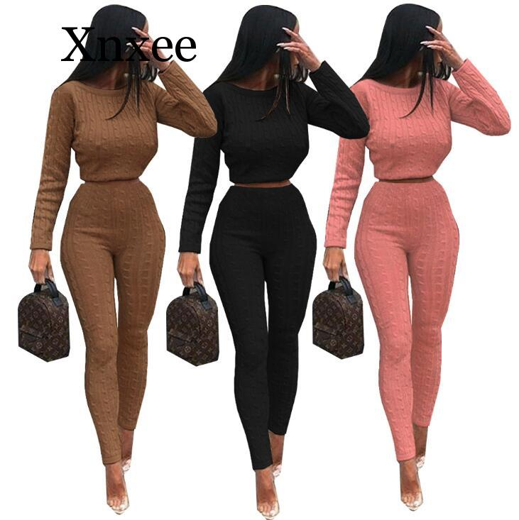 wool elastic waist Women's knitted Suits Spring sweater set Mid Line  Pullover Sweater Pants two pieces Sets warm Jogging
