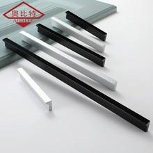 AOBT American Cabinet Handles Silver Black Drawer Door Pulls Aluminum Alloy Cupboard Pulls Wardrobe Door Handle Hardware Knobs