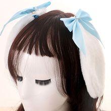 Hair-Clip Lolita Cosplay Ribbon Ears Bunny Plush Rabbit Girls Women Kawaii Cute Lop Bowknot