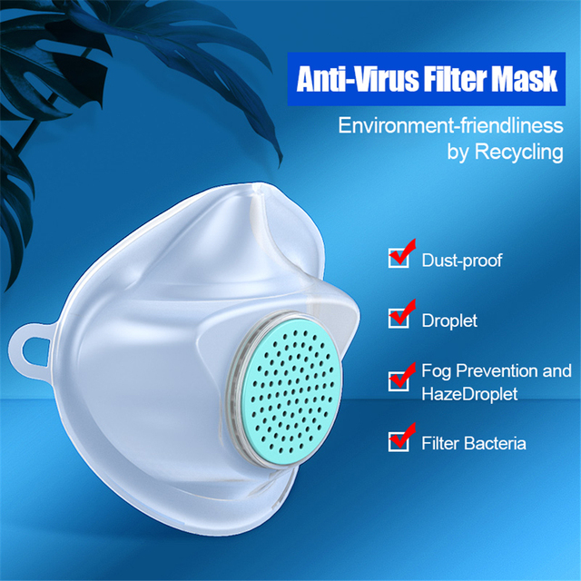 Anti Dust flu Washable Earloop Masks  TPE Protective Silicone Mask Face Mouth Protect with Filter Element No Disposable 3
