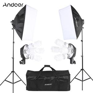 Image 1 - Andoer סטודיו תמונה תאורת ערכת עם 2 Softbox 2 4in1 הנורה שקע 8 45W הנורה 2 אור Stand 1 נשיאת תיק