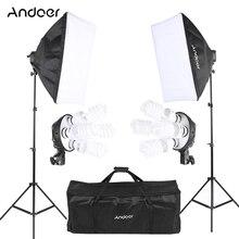 Andoer Kit de iluminación para fotos de estudio, con 2 Softbox, 4 en 1 2 tomas de bombilla, 8 bombillas 45W, 2 soportes de luz, 1 bolsa de transporte