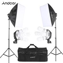Andoer Photo Studio Kit di Illuminazione con 2 Softbox 2 4in1 Lampadina Presa 8 45W Lampadina 2 Luce Del Basamento 1 borsa per il trasporto