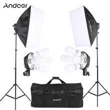 Andoer estúdio kit de iluminação foto fotografia com 2 softbox 2 4in1 lâmpada soquete 8 45w lâmpada 2 suporte de luz 1 saco de transporte