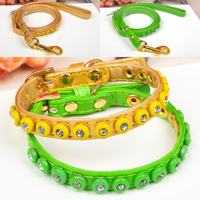Amigo Solid Color Jiao Bao Drilling Pet Collar With Rope A Set Of Cat Dog Neck Circle