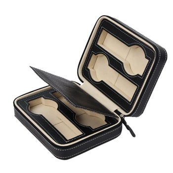 4 Slots Zippered Watches Box Travel Case - Watch Organizer Collection - Top Grade Carbon Fibre PU Leather
