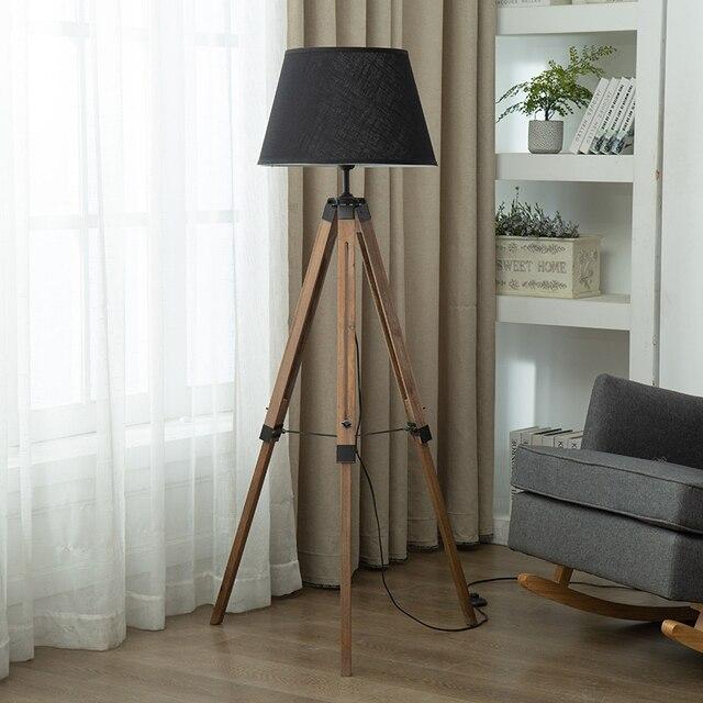 tripot moderne lampadaires bois tissu abat jour trepied lampe sur pied pour nordique salon chambre decor a la maison luminaires