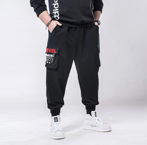 Image 3 - בתוספת גודל 7xl 6xl 5xl מכנסיים מטען גברים מוצק צבע שחור Loose מקרית Jogger כיס אלסטי מותניים קרסול אורך מכנסיים