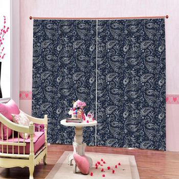 blue curtains blackout curtains Luxury Blackout 3D Window Curtains For Living Room Bedroom Decoration curtains
