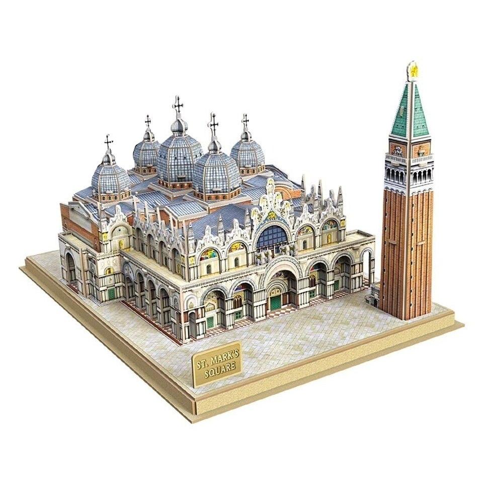 3d papier Puzzle mot bâtiments célèbres italie venise St. Marc carré Puzzles artisanat bricolage cadeaux pour adultes jouets éducatifs