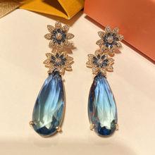 Модные серьги в форме цветка с синим фианитом для женщин свадебные