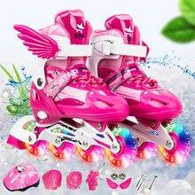 Новые детские роликовые коньки для мальчиков и девочек, регулируемый размер, мигающие ботинки для катания на роликах для детей