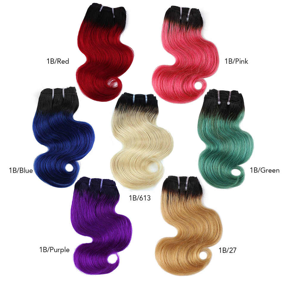 BHF Ombre Body Wave Human Hair Bundles 50g/pc Machine Made Remy Hair Extensions 8 Inch 1B/27 & 1B/613 pink blue green Color