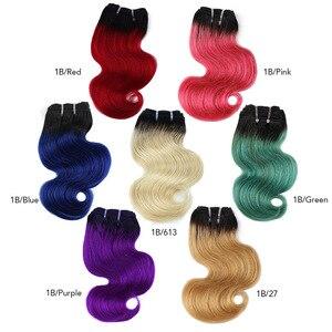 Человеческие волнистые пряди bhf с эффектом омбре, 50 г/шт., волосы remy для наращивания, 8 дюймов, 1B/27 & 1B/613, розовый, голубой, зеленый цвет