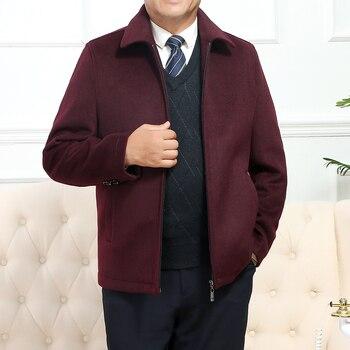 Brand Autumn Winter New Men's Wool Blends Coat Solid Color Business Casual Lapel Zipper Jacket Plus Size 3XL 4XL