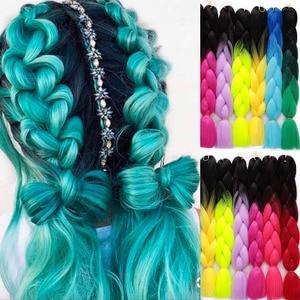 ELEGANT MUSES 24inch Pink Synthetic Crochet Hair Jumbo Braid Hair Yaki Soft Hair Ombre Crochet Braiding Hair Extension For Braid
