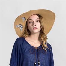 2019 Summer Butterfly embroidery Sun Hat Flat Women High end Wide side Beach Cap Brim Boater Kentucky Derby