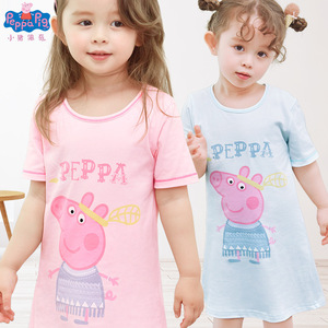 Хлопковая ночная рубашка Peppa Pig для девочек-подростков, летние пижамы с героями мультфильмов, домашняя одежда, детская одежда для сна