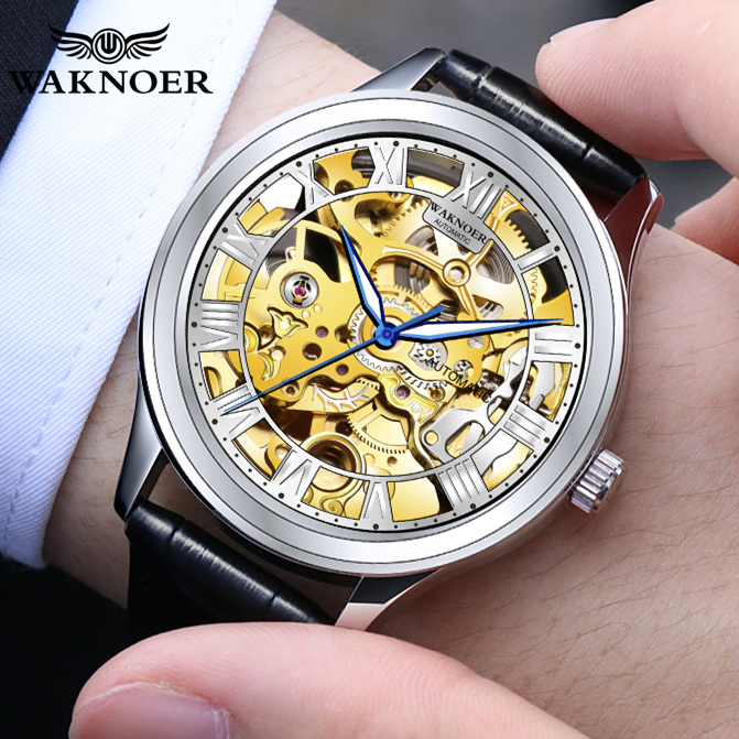Mens Brand Waknoer Leather Watches Business Fashion Hours Montre Relogio Masculino Saati Men's Automatic Mechanical Wristwatch