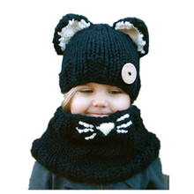 2019 New Winter Kids Scarf Hat Set Cartoon Cat Warm Girl Ears Windproof Handmade Knitted Unisex For Children