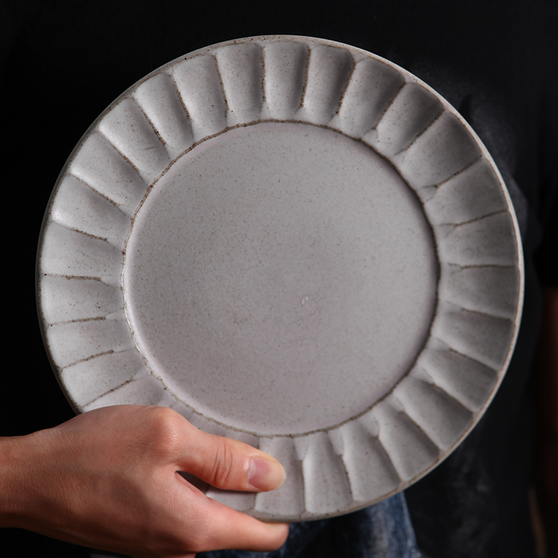 FANCERTY Household Hand-made Stoneware Set Dish Plate Porcelain Plate Retro Salad Creative Tableware Dishes and Plates Sets
