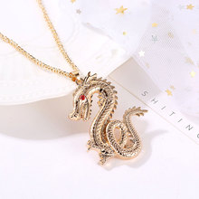 Creative Chinese Style Alloy Necklaces For Men Exquisite Vintage Zodiac Dragon Choker Necklace Women Fashion Jewelry Gifts 51mm 2 collection curio rare chinese fengshui small bronze exquisite animal 12 zodiac year dragon pendant statue statuary 31g