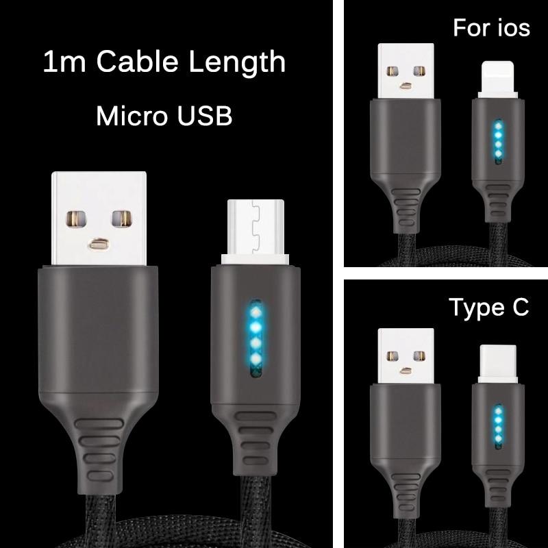 Smart power Off 2.4A кабель для зарядки и передачи данных для samsung iPhone huawei Авто POWEROFF защитный шнур с светодиодный Micro usb type C
